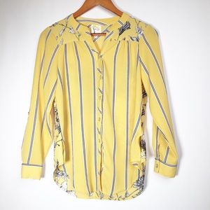 Fig and Flower SP Yellow Floral Long Sleeve Blouse